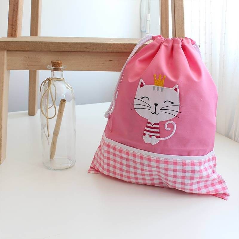 bolsa merienda rosa gato