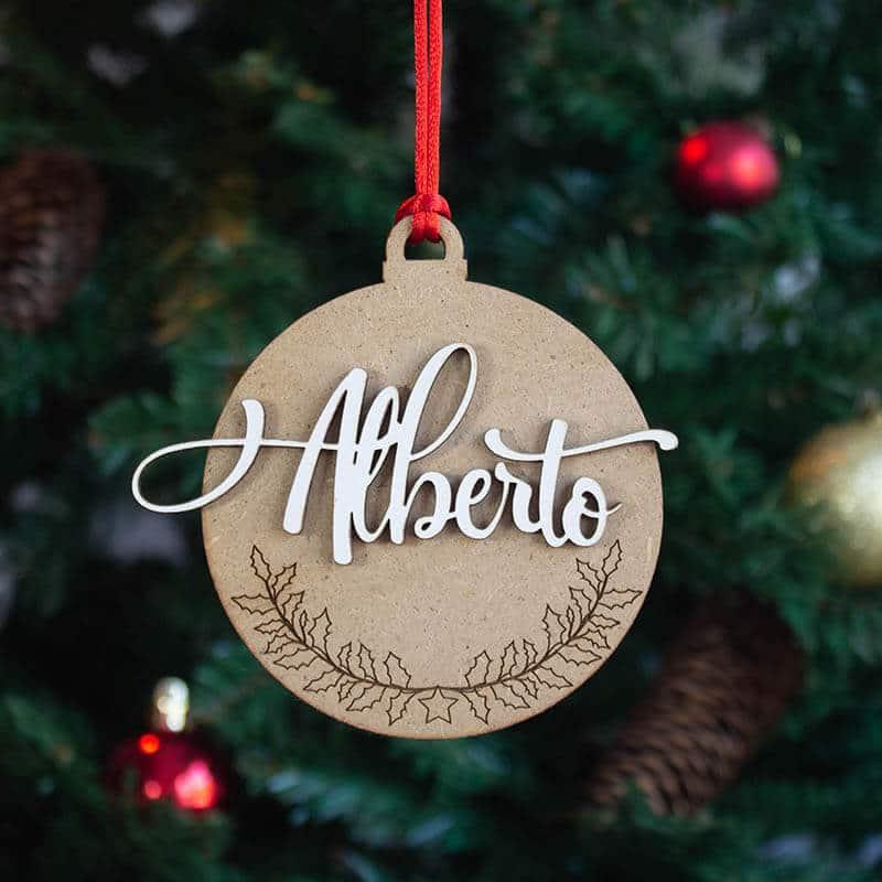 bola detalle navideño con nombre